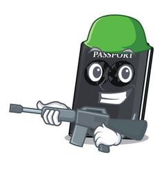 Army black passport in a cartoon bag vector