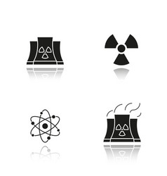 Atomic energy drop shadow black icons set vector