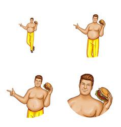 avatar fat man with hamburger vector image