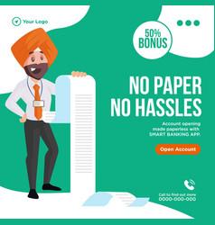 banner design no paper no hassles vector image