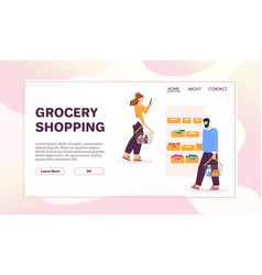 Banner grocery shopping concept store vector