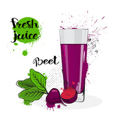Beet juice fresh hand drawn watercolor vegetable vector