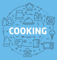 blue line flat circle cooking vector image