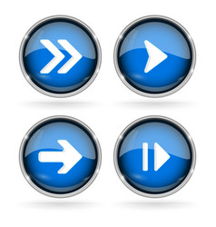 blue next buttons with chrome frame round glass vector image