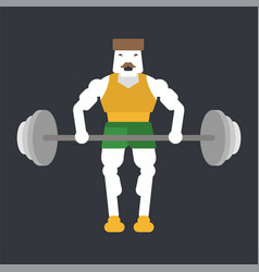 bodubuilder doing bent-over barbell row vector image