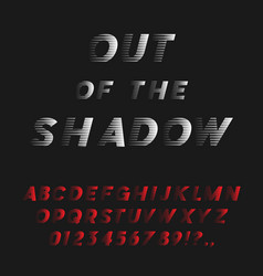 Bold italic font coming out shadow vector