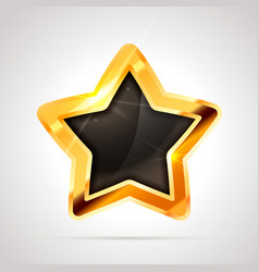 bright metal golden glossy star with black blank vector image