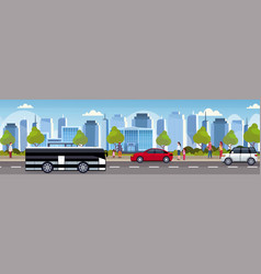 Cars and passenger bus driving asphalt road urban vector