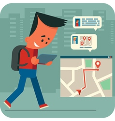Cartoon young man traveling and online chatting vector image