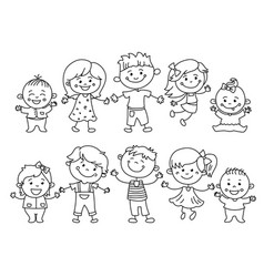 Cheerful children painted colorful pencils vector
