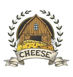 Cheese maker vintage emblem line art sketch vector