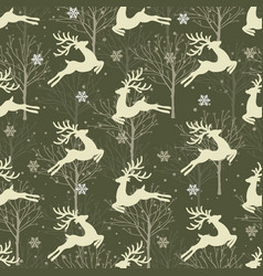 Christmas seamless pattern with reindeer vector