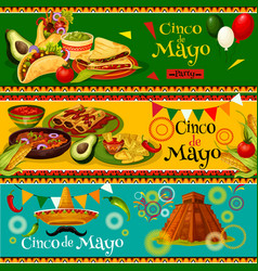 Cinco de mayo mexican party banners vector