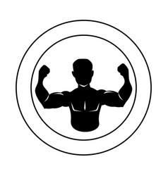 Circular border silhouette half body muscle man vector