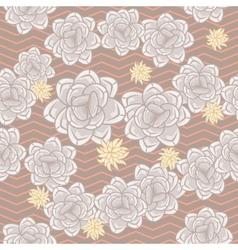 Coffee beige echeveria roses and chevron seamless vector