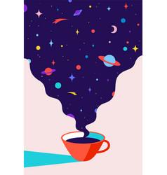 Coffee cup coffee with universe dreams vector