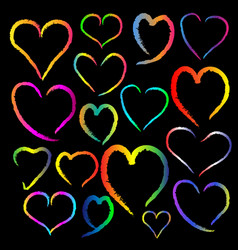Colorful chalk heart image on black background vector