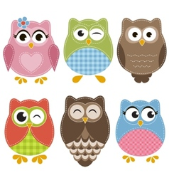 Colorful owls set vector image