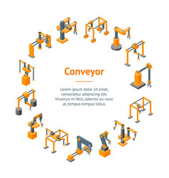 conveyor machines robotic hand banner card circle vector image
