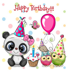 Cute panda and owls with balloon and bonnets vector