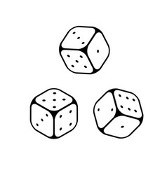 dice line icons game objects vector image
