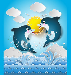 dolphins in sea on the sunlight vector image