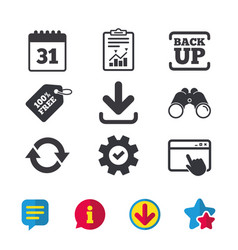 Download and backup signs calendar rotation vector