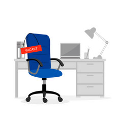 empty office desk and chair vector image