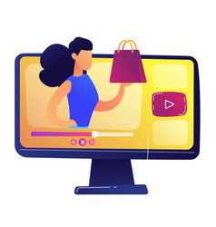 fashion blogger with trendy bag video concept vector image