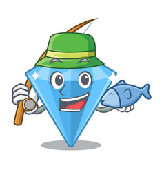 Fishing sapphire gem in a mascot box vector