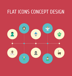 Flat icons halo monster avatar and other vector