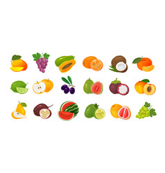 fruits and berries set of colored icons food vector image