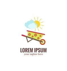 Garden tools logo Green garden wheelbarrow with vector image