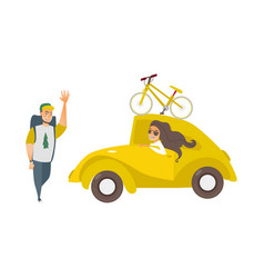 girl in car man hiker waving hand vector image