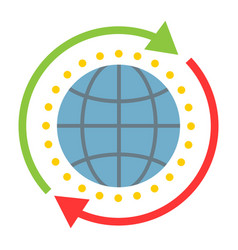 Global solution flat icon seo and development vector