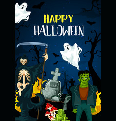 greeting card for happy halloween vector image