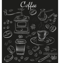 Hand-drawn chalk blackboard decorative coffee vector