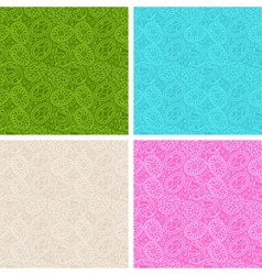Happy Easter egg seamless patterns set vector image