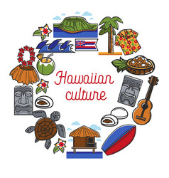 Hawaiian culture promo poster with traditional vector