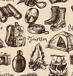 Hike and camping tourism hand drawn vintage vector
