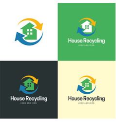 house recycling logo and icon vector image