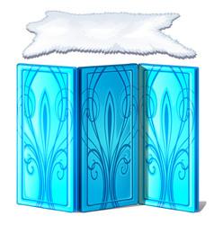 Ice screen and polar bear skin decorative items vector