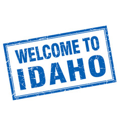 Idaho blue square grunge welcome isolated stamp vector