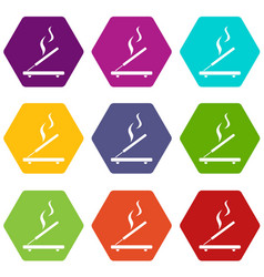 Incense sticks icon set color hexahedron vector