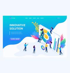 Isometric entrepreneurs marketing research vector