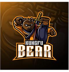 Kungfu bear mascot logo with a sword vector