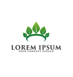leaf crown logo spa cosmetics and beauty logo vector image