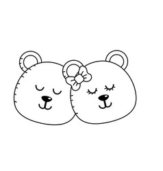 Line cute animal couple bear head together vector