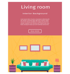 living room interior banner in bright colors for vector image