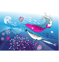 marine background with narwhals vector image